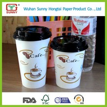 Factory Wholesale 14oz Disposable Paper Cup with Lid for Hot Coffee