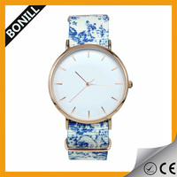 Colorful Print High Quality Geneva Flower Watch For Women Dress Watch Quartz Watches