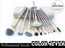 Wholesale top quality Synthetic 12pcs leather pouch makeup brushes flat and fat powder brushes