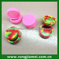 2014 Best Selling FDA grade silicone jars dab wax container 7m tie-tye colors