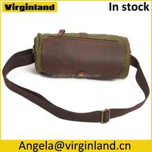 Stylish Popular Cylinder Shape Canvas Leather Cross Body Shoulder Bag for Women