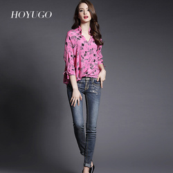 Top quality casual long sleeves silk blouse