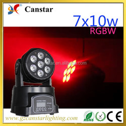 Best led mini 7 pcs 10w RGBW stage beam/wash moving head lighting