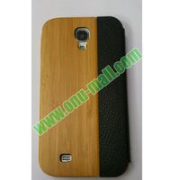 Real Leather Flip Bamboo Case for Samsung Galaxy S4
