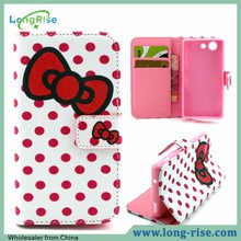 Hot Sellling Cross Pattern Wallet Stand TPU Side Flip Leather Case for Sony Z3 Compact D5803 M55, Polka Dots & Red Bowknot