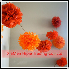 "6"" Orange Hanging Tissue Paper Pom Poms Flower Party Garland Decoration"