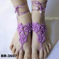 Women Body Jewelry Wedding Crochet Purple Barefoot Sandals