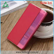 Caller display Smart flip cover for Samsung Galaxy Note 4, for Note 4 leather case