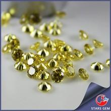 round gold yellow machine cut cubic zircon stone