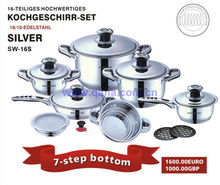 As seen on TV kitchen supplies wholesale 16pcs stainless steel cookware waterless stainless cookware