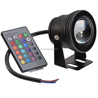 DC12V black case 10W RGB LED underwater & lawn light;IP67 waterproof;with 24key IR remote