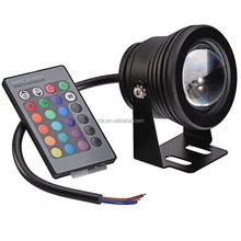 DC12V black case 10W RGB LED underwater & lawn light;IP67 waterproof;with 24key IR remote