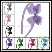 """IN STOCK 3.2""""Quatrefoil Style Printed Fabric Plastic Headband Covered On Kids Hair Ribbon Bows Head Band"""