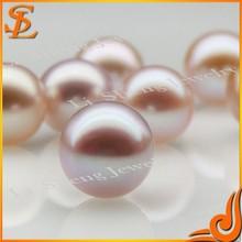 Round freshwater purple pearl type half hole pearl
