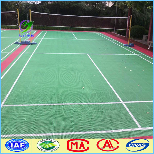 Interlocking outdoor badminton hard plastic flooring for Hard floor covering