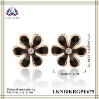 Alibaba Cheap Rose Gold Plated Black Oil Painting Stud Earring Jewelry Wholesale Jewelry Fashion Flower Earrings