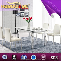 fashion white expandable high carbon steel frame glass dining table L-806D#