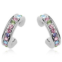 high quality hottest swarovski element crystal jewelry fashion huggie earring