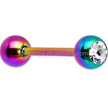 G23 Titanium Tongue Barbell Tong Piercing With Crystal