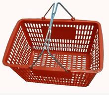 Plastic Bakset Metal Double Handles Plastic Shopping Basket/Laundry Basket