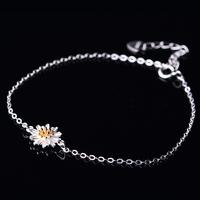 European Popular Trend in 2016 High Quality Fashion Product Simple Bracelet Adjustable Chain Flower Sterling Silver Bracelet