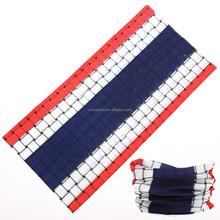 Custom Multifunctional Seamless Tubular White/Blue/Red Headwear