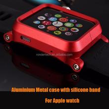 Shock resisitant Aerospace Aluminum Metal Case for Apple Watch Metal, for Apple Watch Case Cover with Silicon Watch bracelet