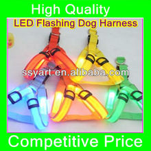2013LED Flashing Dog Harness Pet Harness Dog Leads S/M/L with OPP Bag