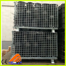 folding steel storage cage,folding steel cage,folding stackable storage wire mesh basket container