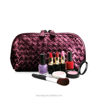Luxury brand bags woven ladies leather cosmetic bag 2015