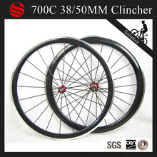 38/50mm clincher alloy brake surface carbon wheelset for road bike,glossy surface carbon aluminum bicycle wheels