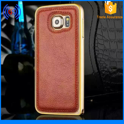 Wholesale leather case for iphone 6, metal cover for iphone 6 case luxury