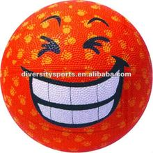 Lovly Big Smile Face Offical Size Rubber Basket Ball