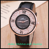 ladies leather wrist watches OEM color case PC movement diamonds on dial marks AD1034