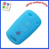 Car Remote Silicone Bag with Light Blue for 3 Buttons Brand Car Key
