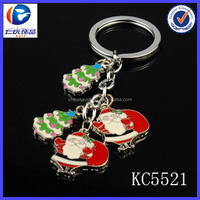 2014 new style popular gift Santa Claus and the Christmas tree keychain