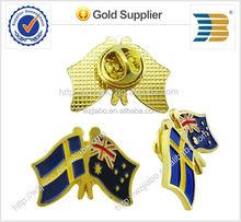 Metal cross flags pin badge