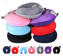 Customize company logo or brand sublimation solid color airplan or car neck beads message plain travek pillow
