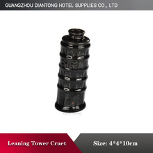 small Cheap ceramic black tower shape cruet set