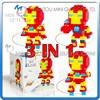 Mini Qute Lele Brother 3 in 1 Marvel avenger super hero plastic building blocks brick cartoon model educational gift toy NO.6133