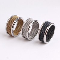 10MM three color silver side net Grid Stainless Steel finger rings for men women wholesale lots