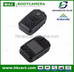 LED wihte night support GPS and wakie-talkie security guard body worn camera