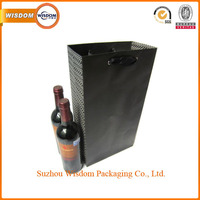 High quality customized elegant liquor eco printed paper wine bottle bags