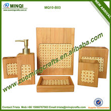 Eco-friendly decorationhome wooden bamboo bathroom accessories set