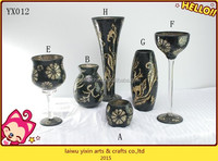 Beautiful black mosaic flower vase for home goods wholesale