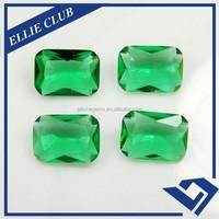 Emerald Cut Green Clear Glass Gems in stock