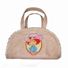 Custon design clients own pattern printing beautiful plush fabric handbag for girls