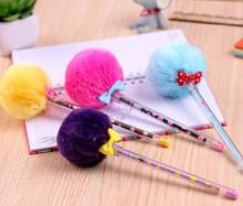 pom pom pen fur gel ink pen