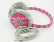 Colourful winter warm headphones, plush music earmuff, beautiful headphone as gift for high school student