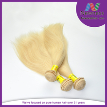 Double wefts Russia unprocessed straight 613 blonde color human hair weaving